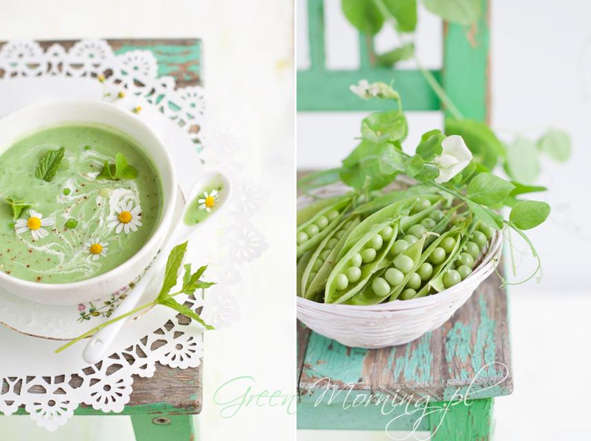 zielony groszek zupa z miętą