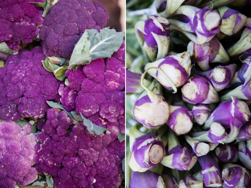 Na sycylijskich targach w lutym królują fioletowe kalafiory i kalarepy, karczochy, dzikie szparagi i wszelkiego rodzaju zielenina.
